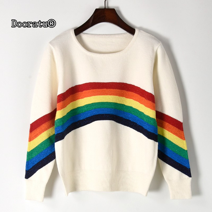 Dooratu 2017 New Autumn Women Round Neck Cute Rainbow Striped Pullovers Female Casual Loose Long Sleeve Sweaters Free Size