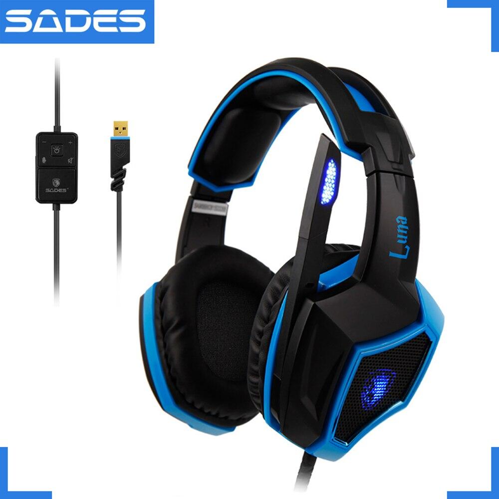 SADES LUNA шоу гарнитура Virtual 7,1 Surround Sound многоцелевой ясно голосовые наушники для геймера