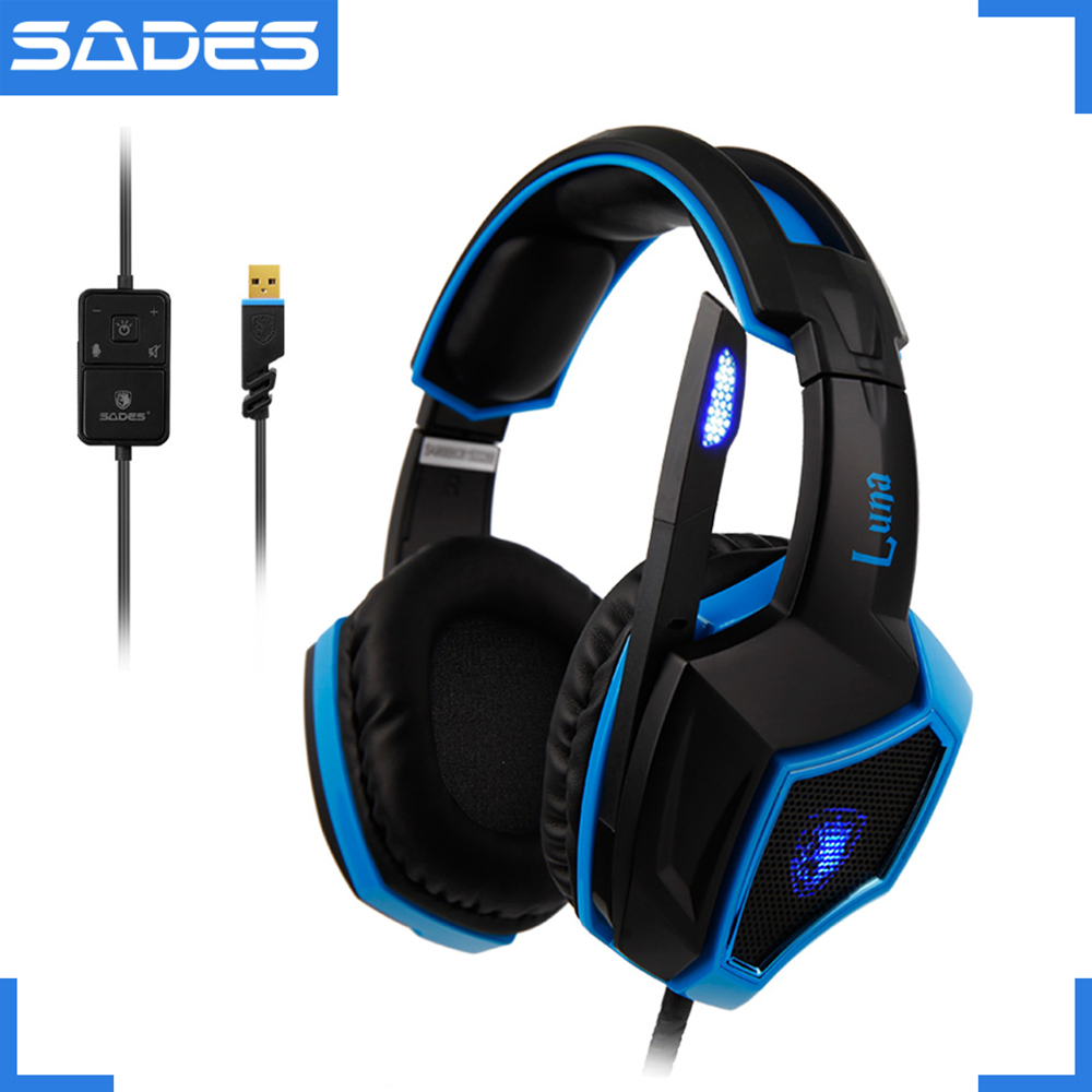 SADES LUNA Live Show Headset Virtual 7.1 Surround Sound Multifunctional Clear Voice Headphones for Gamer