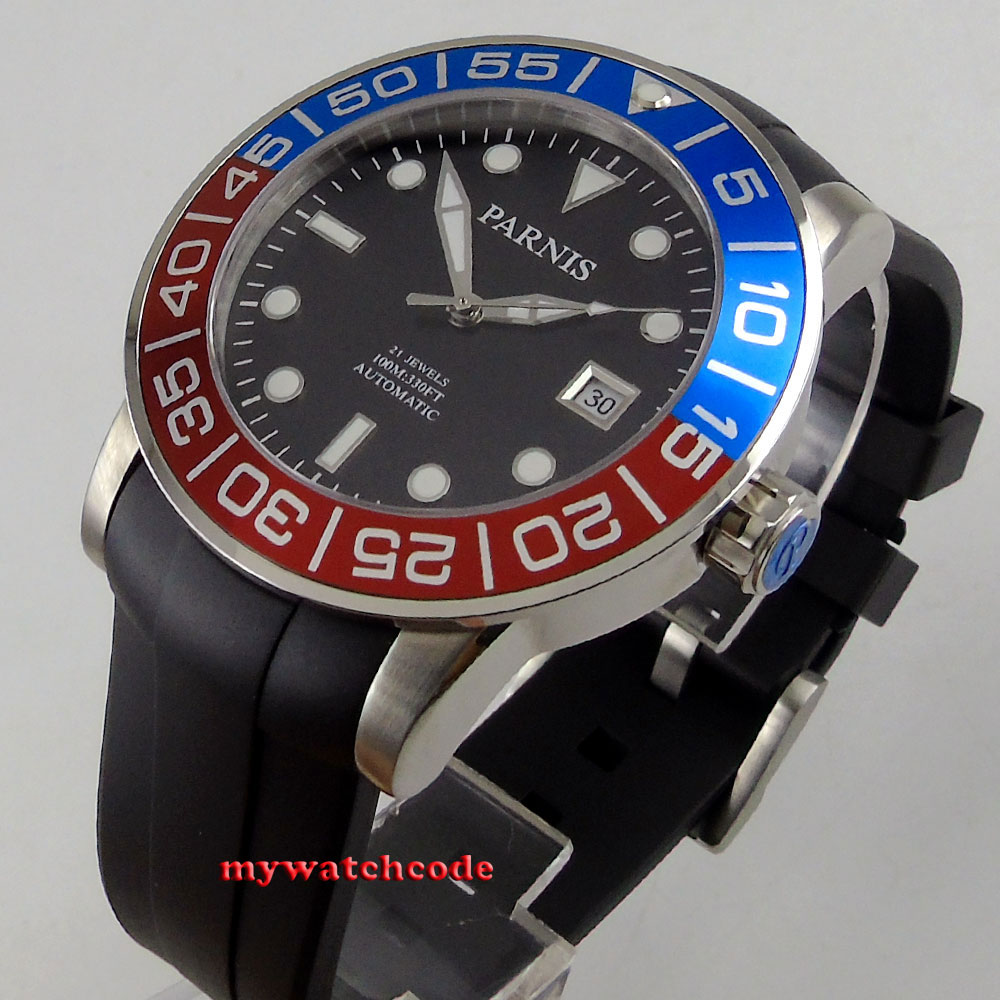 famous brand 42mm Parnis black dial rubber strap Sapphire glass 21 jewel Miyota automatic mens watch P393 42mm parnis silver dial sapphire glass 21 jewel miyota automatic mens watch p531