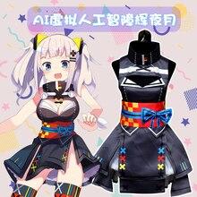 4fb6f4b16 Kizuna AI Kaguya Luna Lolita Vestido Sexy Impresso Uniforme Traje Cosplay  Halloween Outfit Tamanho
