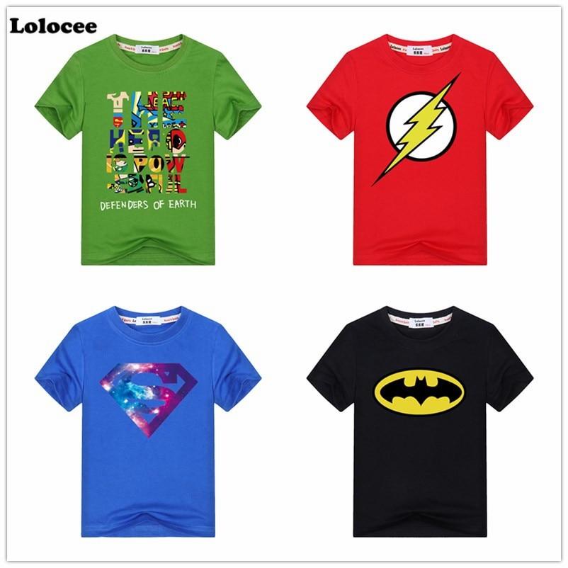 Comic Super Hero T Shirt Superman Batman the Flash Cartoon Movie Boy Cosplay T-Shirts 100% Cotton Tshirt Baby Kids Geek Tee женская футболка other 2015 3d loose batwing harajuku tshirt t a50