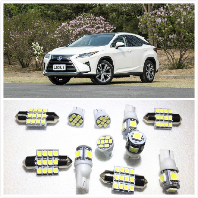 11 set White LED Lights Interior Package 10 & 31mm Map Dome For <font><b>Lexus</b></font> RX450h CT200h ES300h LS460 LS600h LX570 RX350 2000-2019 image