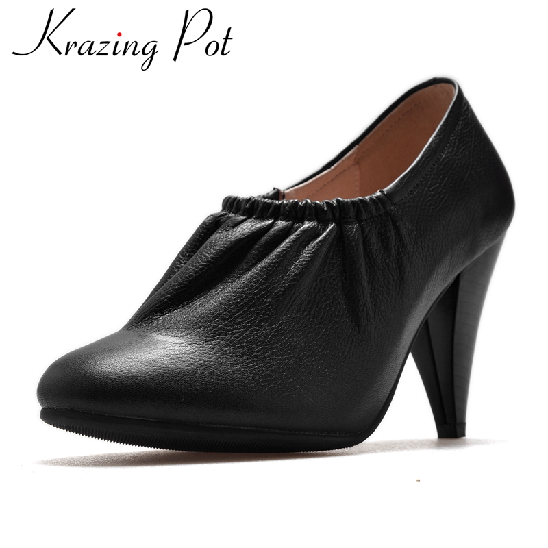 Krazing Pot new arrival Genuine leather high heel fashion winter shoes woman runway handmade office lady casual ankle boots L3f1