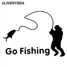 14*11cm Outdoor Sports Fishing GO FISHING Stickers Car Accessories Car Stickers Decals Black Silver #B1131 цена