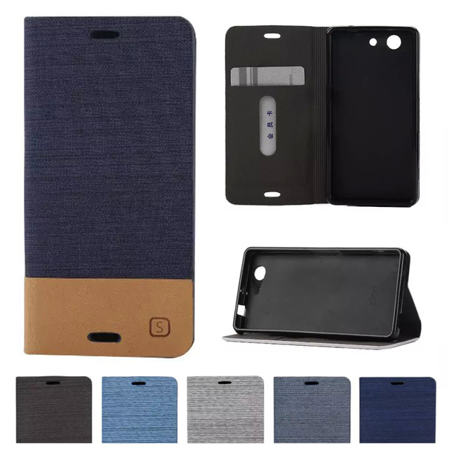 promo code 36aff 0c1df US $4.11 8% OFF|Flip Case For Sony Xperia Z 3 Compact Z3 mini D5803 D5833  M55W Denim Magnetic Flip Leather Phone Cover For Z3Compact Z3mini para-in  ...
