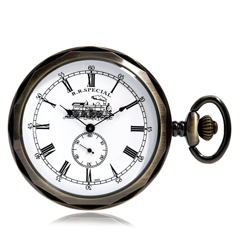 Open Face Train Roman Numbers Design Dial Mechanical Pocket Watch Vintgae Pocket Clock With 30cm Chain Best Birthday Gifts