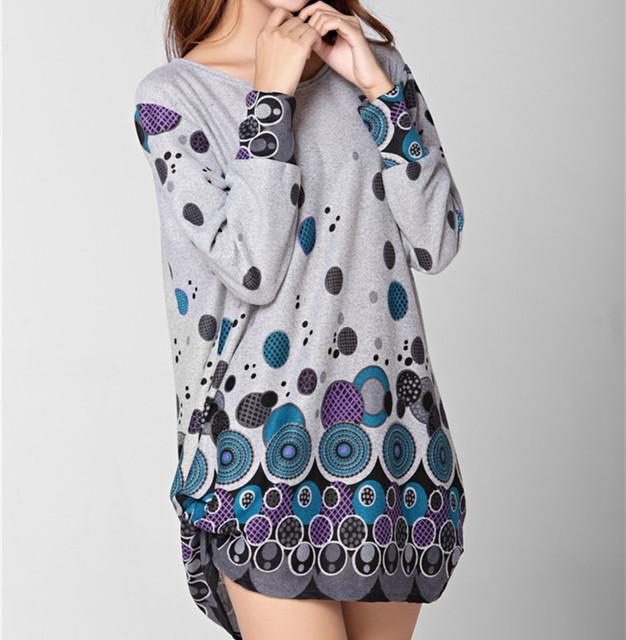 NEW winter autumn women casual print long sleeve t shirt tops & tees plus size loose fashion tunic big large XL-5XL