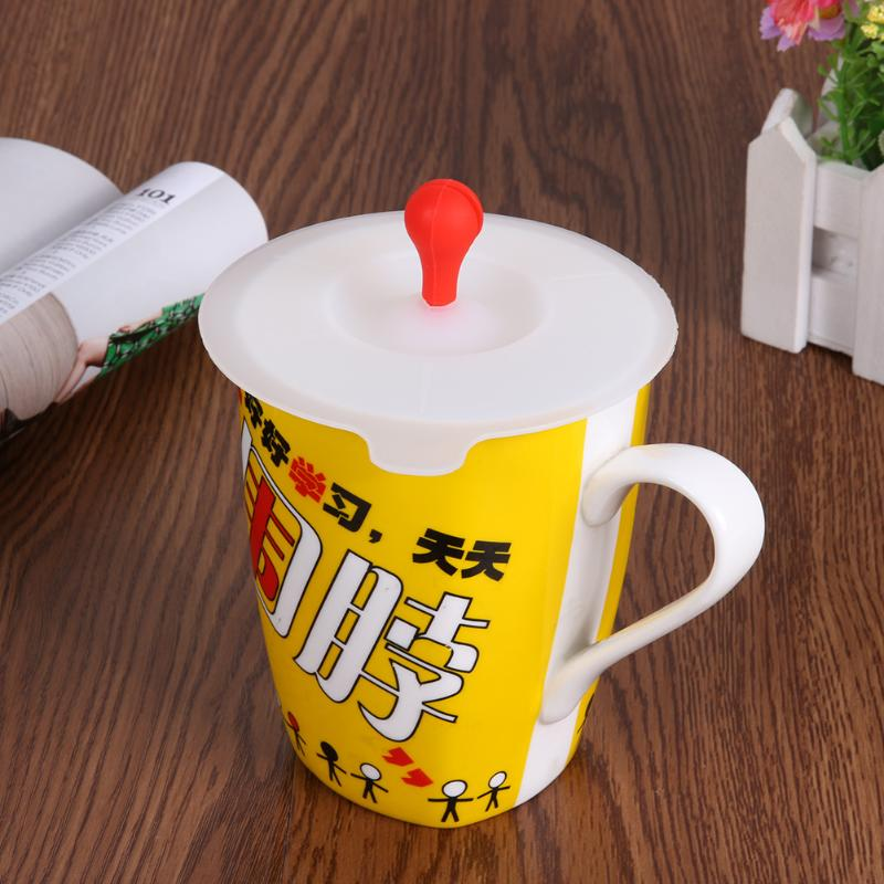 10cm Cute Anti-dust Silicone <font><b>Cup</b></font> Cover Ustproof <font><b>Cup</b></font> Reuseable Leakproof Drinkware Airtight Silicone Lids Fruit Tea <font><b>Coffe</b></font> <font><b>Cup</b></font> image
