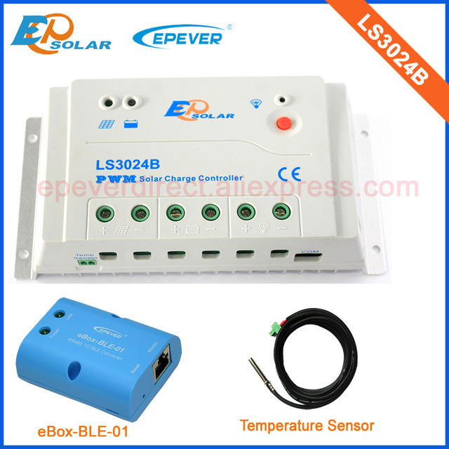 pwm Epsolar solar regulator 30A 30amp LS3024B 12v 24v with bluetooth function+temperature sensor