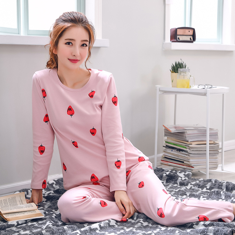 2019 Women Pajamas Sets Autumn Winter New Women Pyjamas Cotton Clothing Long Tops Set Female Pyjamas Sets NightSuit Mother Sleep 118