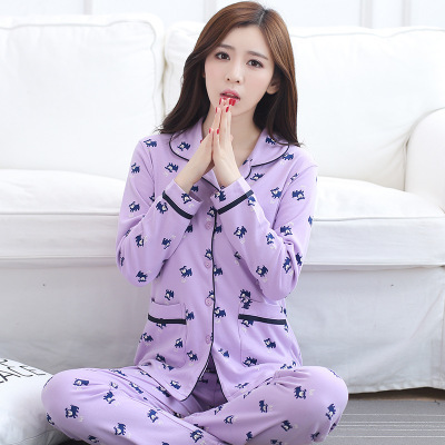 M-3XL Plus Size Primavera 2017 Senhora De Manga Comprida Pijamas Set Pijamas De Algodão Mulheres Cardigan Pijama Pijamas Homewear Camisola Ásia
