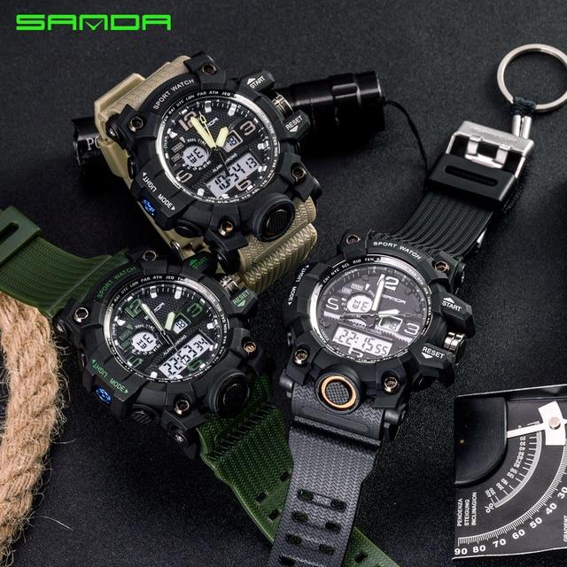 SANDA military watch waterproof sports watches men's LED digital watch top brand luxury clock camping diving relogio masculino 5