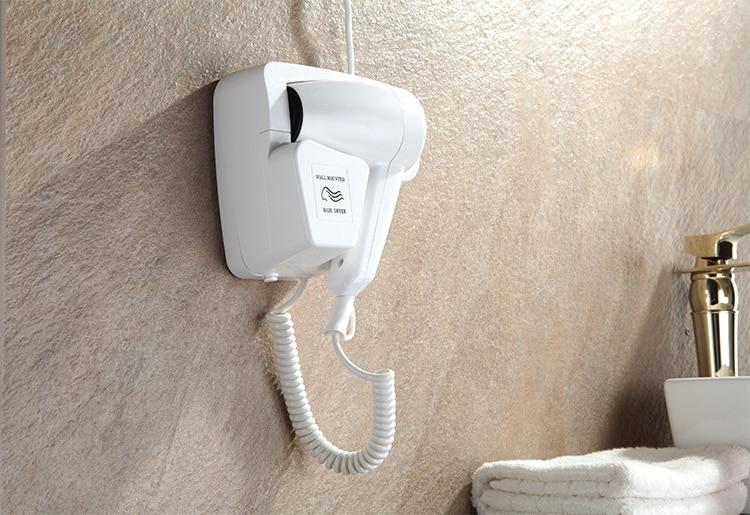 DMWD мощный электрический фен для волос, подвесное настенное крепление для ванной комнаты отеля, Быстросохнущий Горячий Воздуходувка холодного воздуха с розеткой, Фен