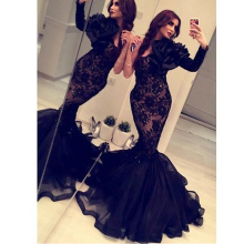 Arabisch Indien Formal Mermaid Abendkleider Long Sleeves Black Lace Anlass Kleider Kristalle Backless Günstige Abendkleid Sexy