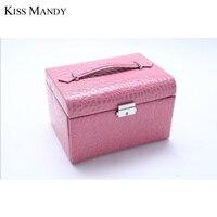 Pocałunek Mandy Nowy Przyjazd Do Przechowywania Biżuterii Pu Leather Jewelry Box 2 warstwy Klejnoty Pakiet Storage KSO04