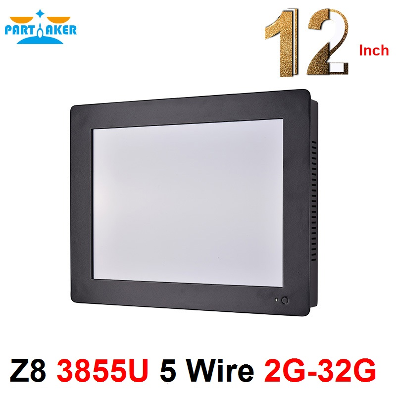 2mm Panel OEM All In One Pc With Intel Celeron 3855u 12.1 Inch Taiwan High Temperature 5 Wire Touch Screen 2G RAM 32G SSD