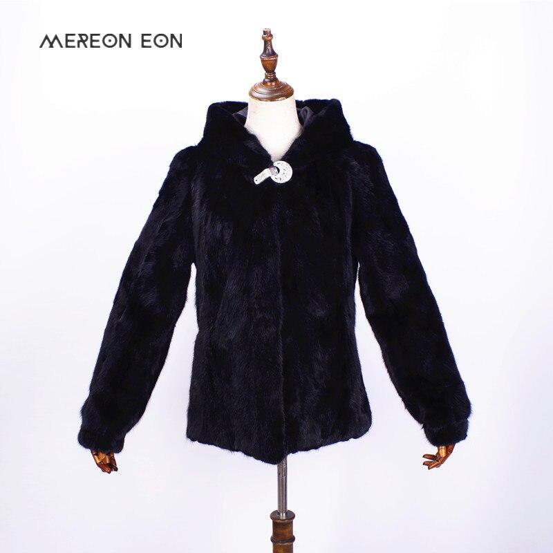 2018-high-end delle donne di inverno pelliccia di visone con cappuccio cappotto di pelliccia vera pelliccia di visone naturale di cucitura femminile inverno autentico cappotto di pelliccia