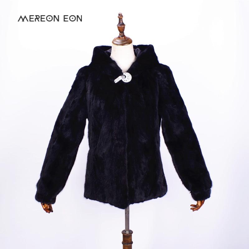 2018 mujeres de gama alta de invierno de piel de visón con capucha capa de pieles natural costura hembra invierno auténtico abrigo de piel