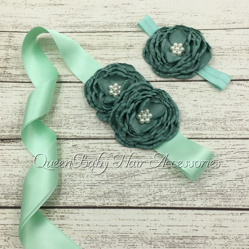 ▻5 set/lot verde salvia satén flor SASH matching Headband menta ...