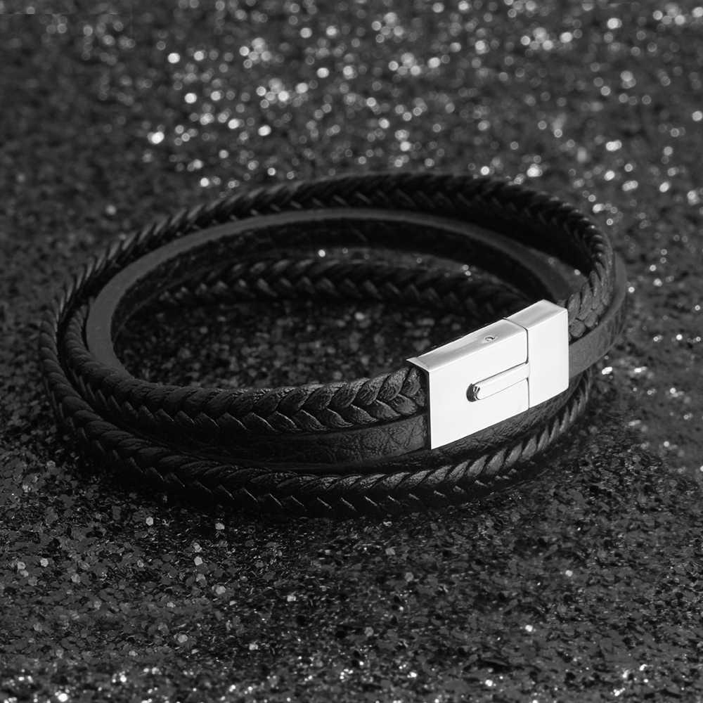 Urok skórzane plecione bransoletki 2017 moda kobiety mężczyźni biżuteria czarny kolor 220mm bransoletki i Bangles (BA101886)