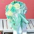 2017 Nueva SSYFashion Dulce Azul Romántico de Encaje Rosa Que Sostiene La Flor Ramo de Novia de La Boda de Dama de Honor Accesorios Accesorios