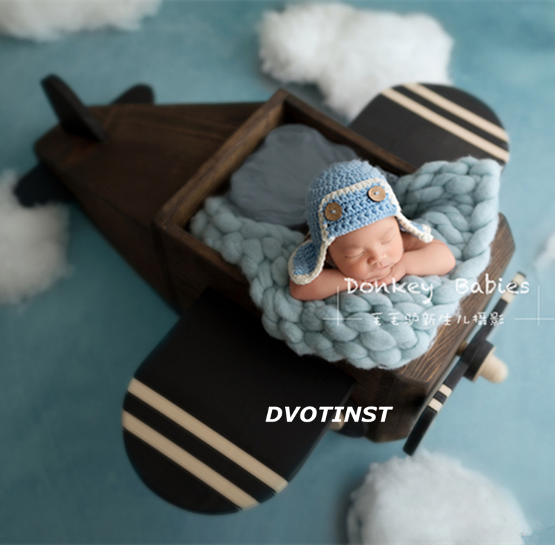 Dvotinst Newborn Photography Props Wooden Posing Aircraft Basket for Baby Solid Wood Accessories Infant Studio Shoot Photo Prop цена