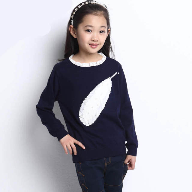 Luxury quality cute teenage sweaters girl crochet black sweater princess girls long sleeve spring clothing outwear with feather