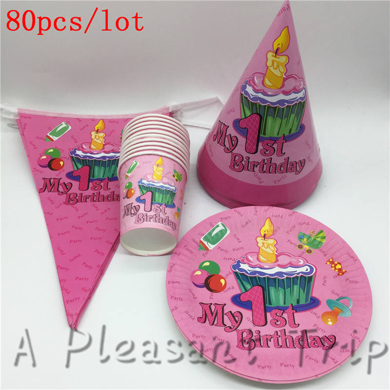 80pcs Lot Baby Shower Happy Decoration Banner Boy Girl Cardboard