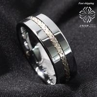 Вольфрам кольцо серебро Декор обручальное кольцо Титан Цвет Для Мужчин's Jewelry Бесплатная доставка