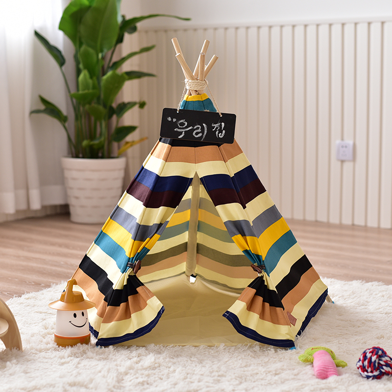 Colorful Striped Pet Teepee House Tent Dog Tipi Cat Tipi Tent Animal Teepee red chevron canvas dog tent house pet teepee tipi dog tee pee cat teepee