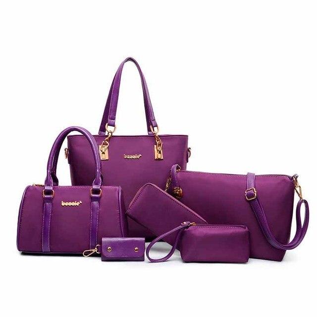 2018 New 6 pieces Set Women Handbags PU Leather +Nylon 5 Colors Women  Shoulder Bag Women Big Volume Bag High Quality Bag fde68457a06b8