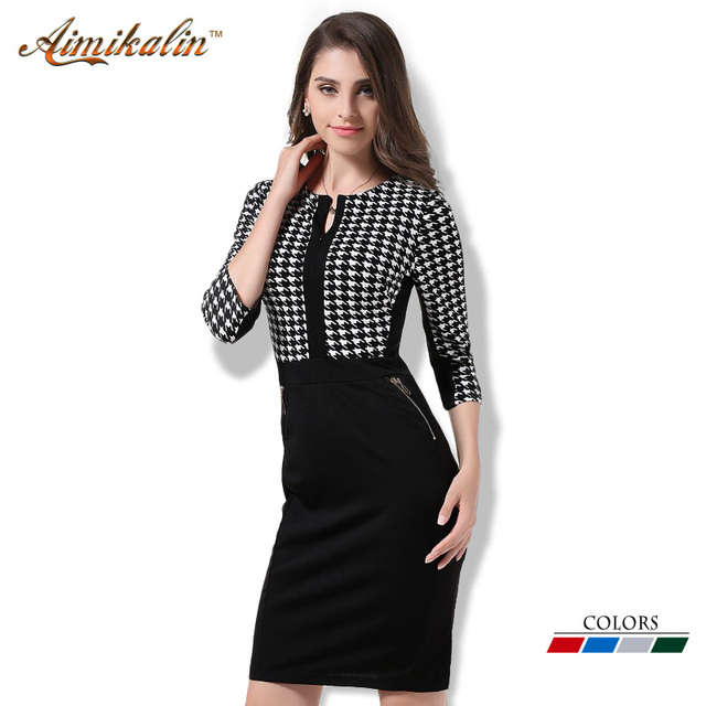 Aimikalin 2016 Print Women Dress O Neck 3/4 Sleeve Bodycon Pencil Summer Style Plus Size Clothing Office Business Vestidos DR015
