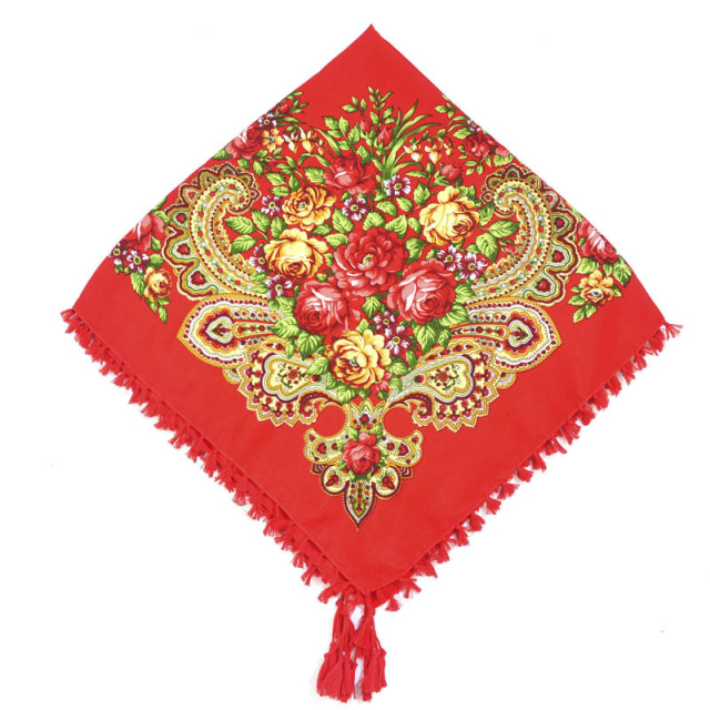 Women's Floral Patterned Russian Scarf with Tassel