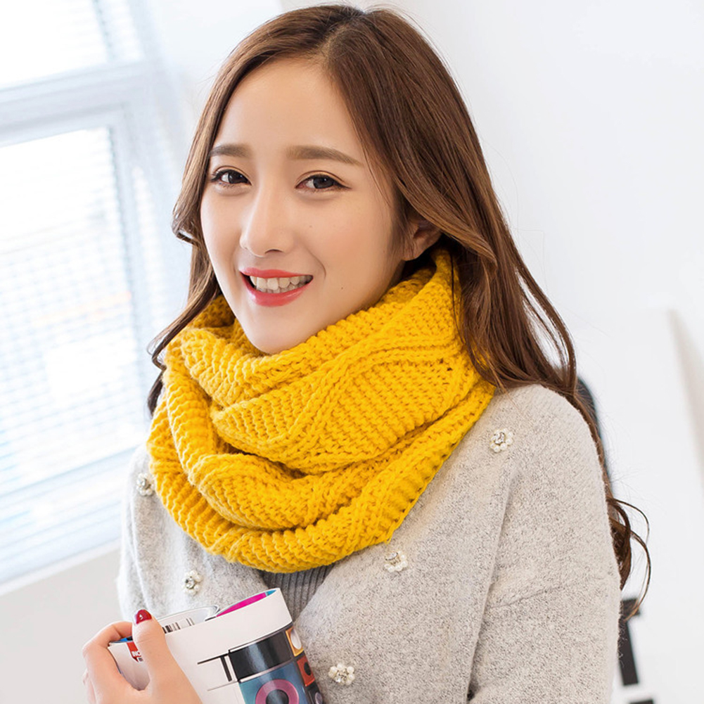 Helisopus 2019 Women Warm Winter   Scarf   Ring Female Knitted Warm Collar   Scarf   Unisex Thick Solid Neck Cable   Scarf     Wraps