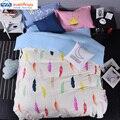 Svetanya 4 unid duvet cover set o 5 unids ropa de cama fija 100% algodón ropa de cama de impresión de plumas de colores