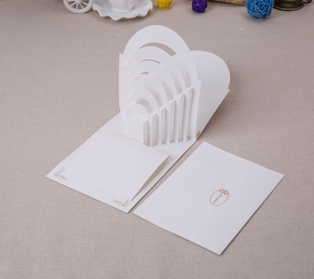 Laser Cut 3D Pop Up Wedding Invitations with Groom and Bride