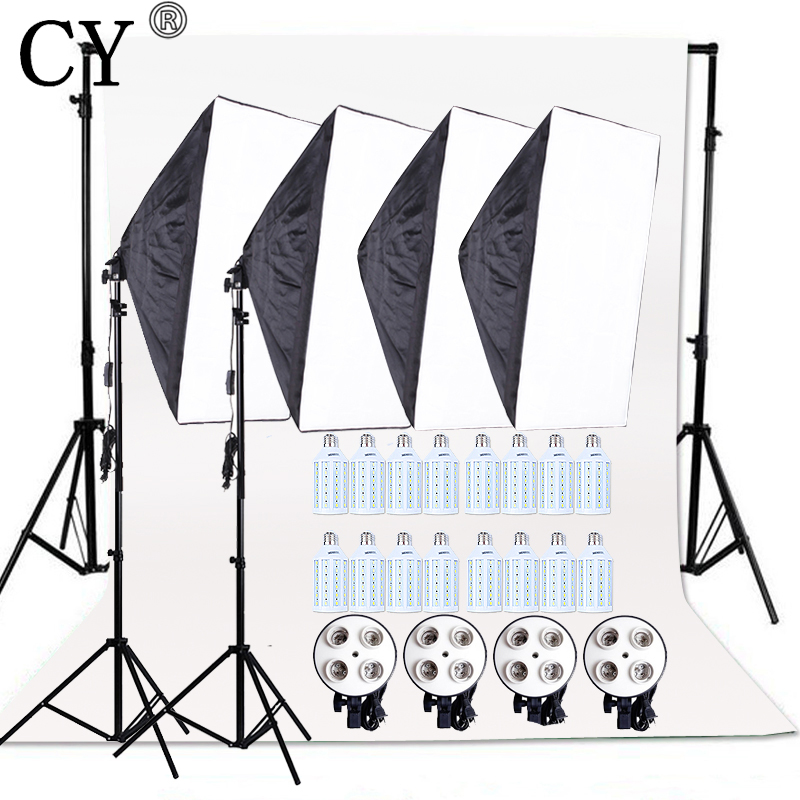 CY 20W LED Light Photo Studio Video Lighting Kit SoftBox with E27 4Lamp Holder+Backdrop Support Cross Bar With Backdrop+Stand