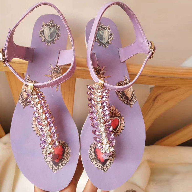 2018 New Summer Sandals Shoes Woman Leather Thong Sandals Ankle Strap Flats Designer Ethnic Crystal Woman Flat Sandals Shoes new 2017 summer flat sandals sexy pointed toe designer side buckle sandals woman shoes tide brand woman sandals hollow flats