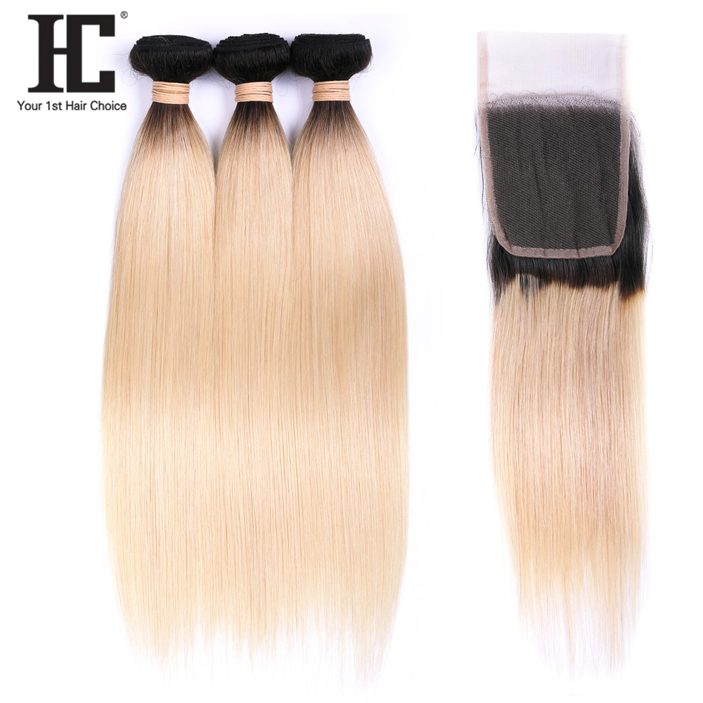 HC Peruvian Straight Hair 3 Bundles With Closure 1B/613 Straight Human Hair Weave Ombre Bundles With Closure Remy Hair Extension