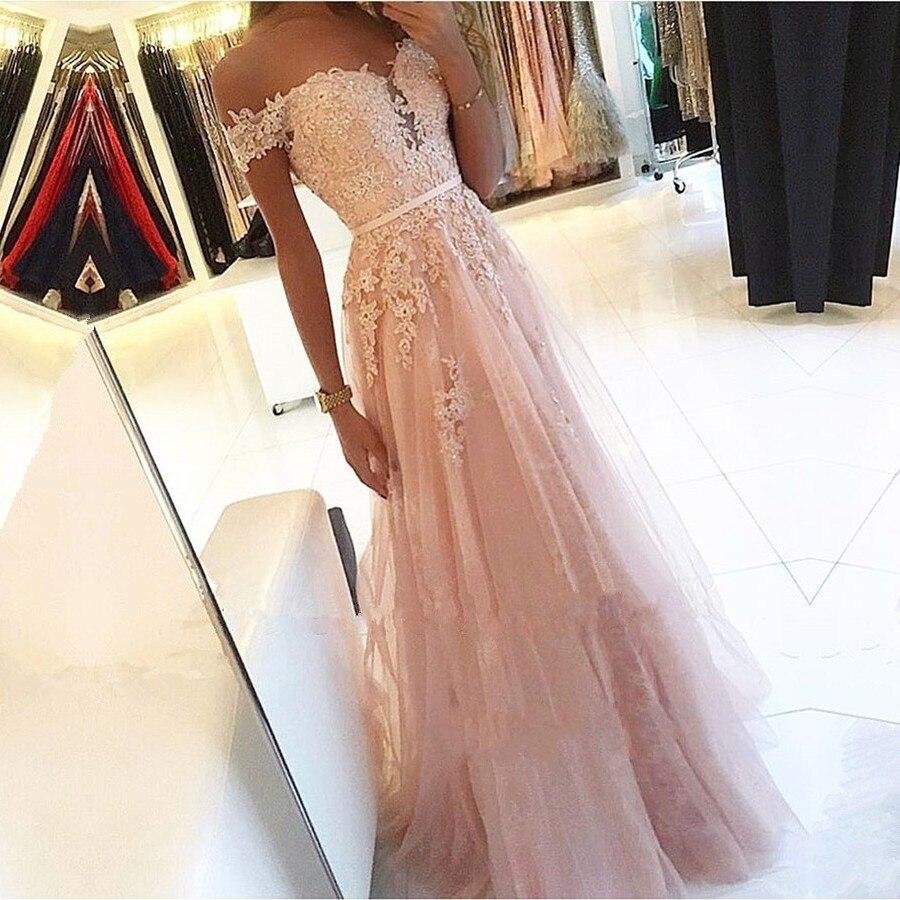 אלגנטי אופנה ורוד שמלות נשף vestido לארגו פיאסטה אפליקציות טול אונליין ערב לבוש הרשמי צווארון V