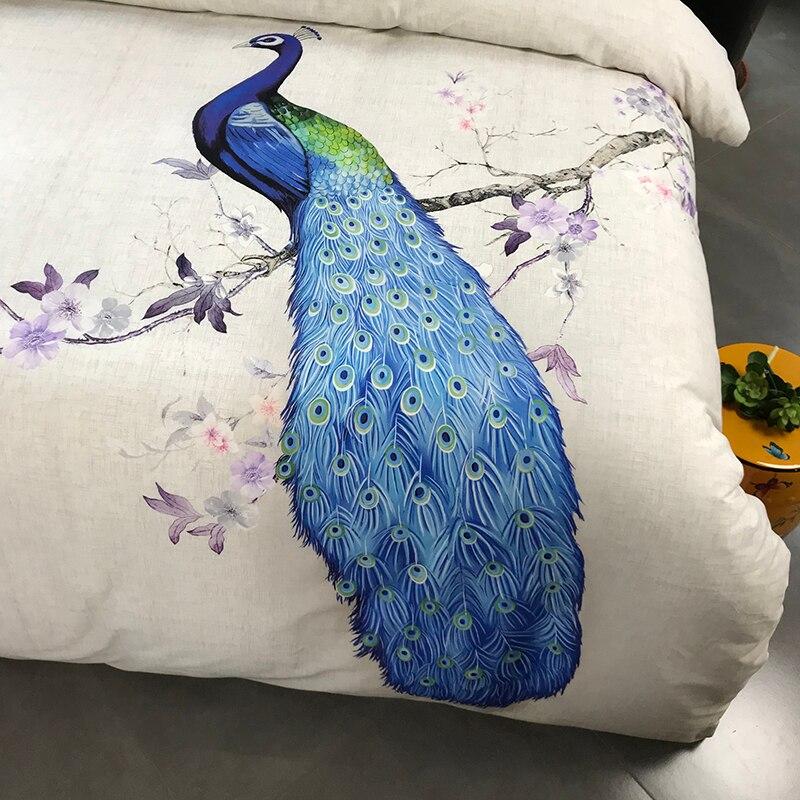 100% coton ponçage imprimé fleur literie ensemble mariage lit feuille ensemble housse de couette taie d'oreiller reine roi 4 pièces Animal paon oiseau - 5