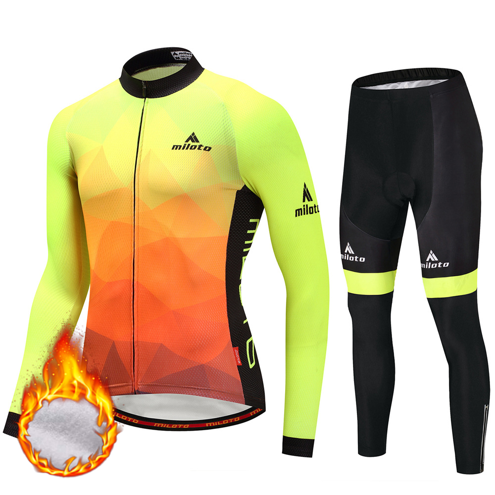 2018 Men Winter Fleece Thermal Cycling Jersey Pants Sets Wear Clothing Maillot Ropa Ciclismo Mtb Bike