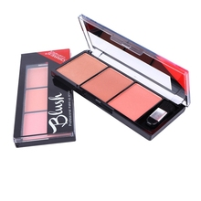 2018 Professional 3 Colors Natural Long-lasting Blusher Powder Palette Shimmer Highlighter Blush Cheek Makeup Tool