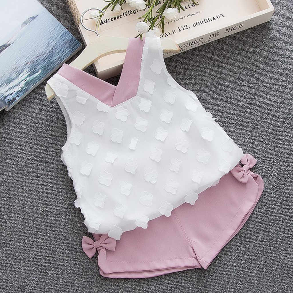 Комплект одежды для маленьких девочек; летняя одежда; футболка с бантом; жилет + шорты; комплекты одежды для маленьких девочек; ensemble fille 4 ans