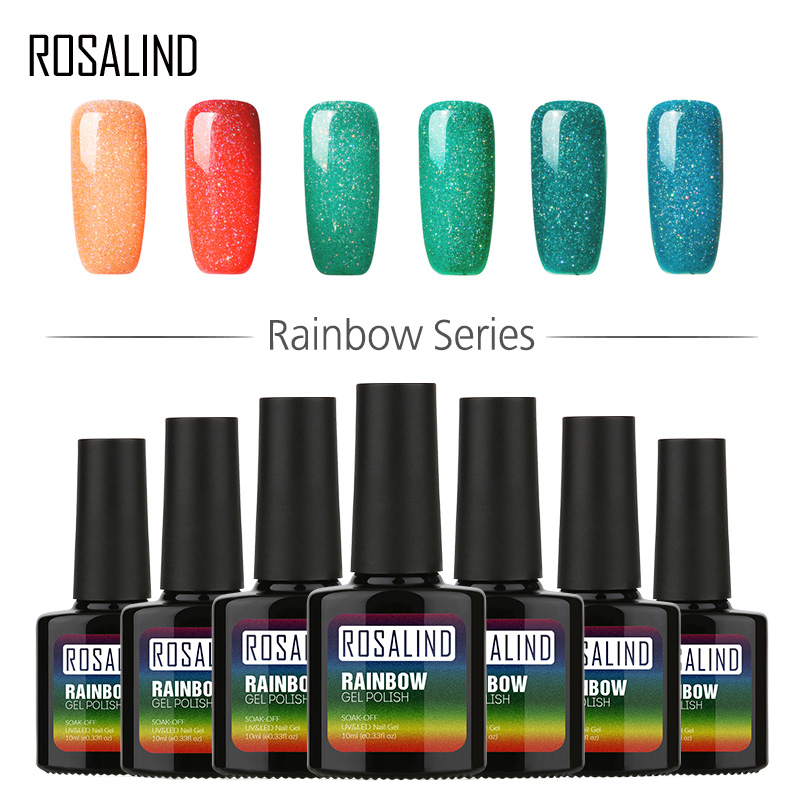 Nails Art & Tools Rosalind Gel 1s P+black Bottle 10ml Rainbow Shimmer R01-29 Uv Led Gel Nail Polish Top Base Coat Long-lasting Lacquer Nail Art Quality And Quantity Assured Nail Polish