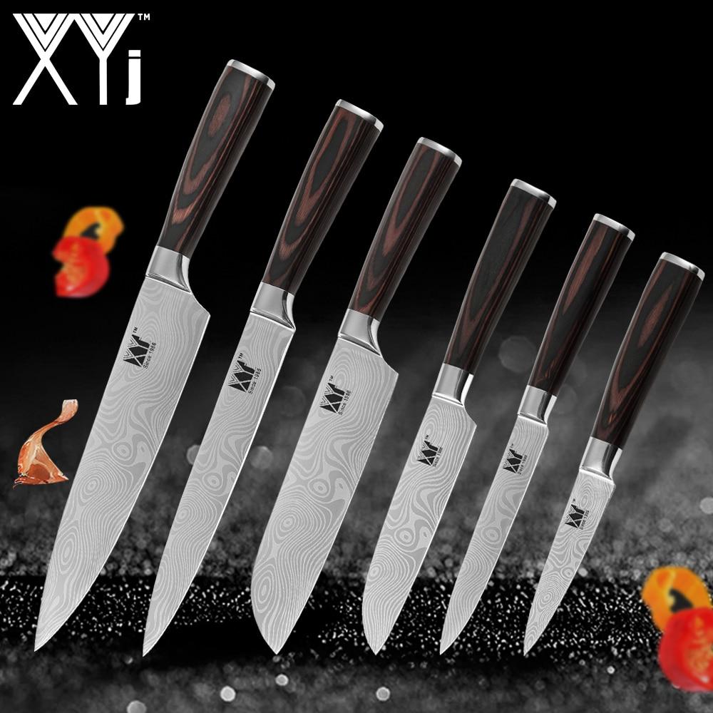 XYj nuevo llegada 2018 cocina de acero inoxidable cuchillos herramienta Fruit Utility Chef Santoku cortar venas de Damasco cuchillos de cocina