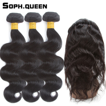 Soph queen Pre-Colored Brazilan Hair Body Wave 3 Bundles With 360 Lace Frontal Closure Remy Human Hair Extension