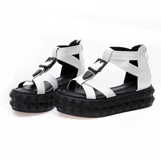 LANSHITINA Lady Fashion Thick Platform Sandals Leisure Punk Shoes Quality Woman Footwear Buckle Shoes Size 35-39 G806