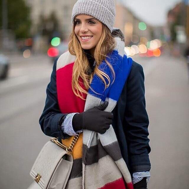 Za зима Плед Шарф Женщины мягкий теплый негабаритных хиджаб вязаный женщин высокого качества платки и шарфы Одеяло Кашемир шарф